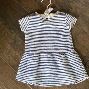 ZARA Baby Girl Short Sleeve Blue Striped Dress